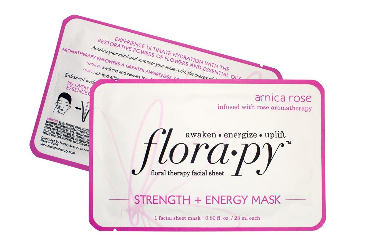 Aromatherapy Facial Sheet Mask - Hydrating - Essential Oils - Strength Energy Arnica Rose (Single) by Florapy Beauty