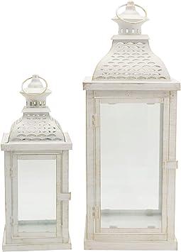 Giardino Soggiorno RE6555 HxLxP Misure: 50x19x19 Stile Vintage Rebecca Mobili Set 2 Lanterne Porta Candela Bianche Metallo Vetro - Art