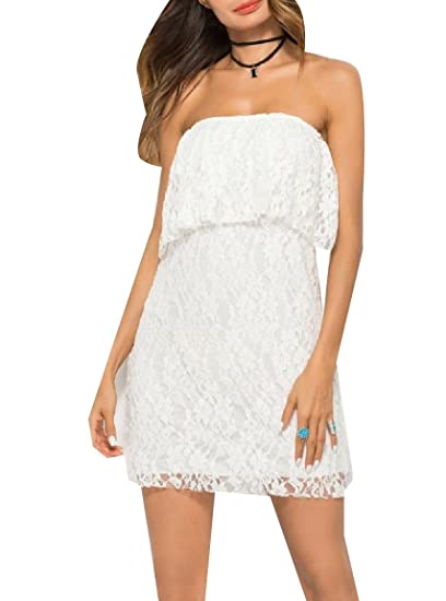White Strapless Casual Dresses