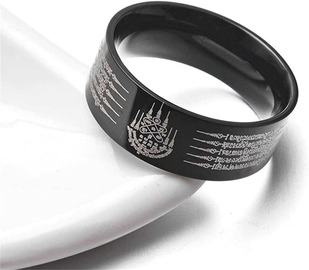 HIJONES Herren Edelstahl Thailand F/ünf Verse Amulett Lucky Mantra Ring Black Tone
