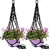 2 In Set 4 Leg 40″ Plant Hanger Handmade Jute Plant Hanger Basket Indoor & Outdoor Hanging Planter Flower Holder with Ring for Round & Square Plant Pots, Black For Sale