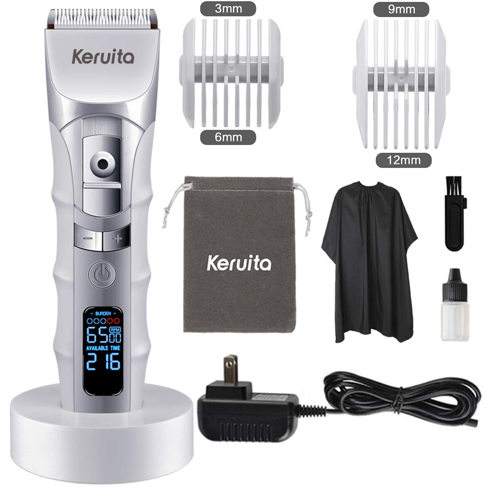 KERUITA Hair Clippers, High Performance LED Hair Trimmer Kit for Men with LED Screen Cordless Hair Clippers, Secure Guide, Charging Base, Rechargeable Waterproof Haircut Kit White
