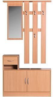 Garderobe Mit Spiegel amstyle design wohnling wl1 155 garderobe buche 90 cm mit
