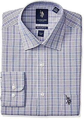 U.S. Polo Assn. Men's Glen Plaid Semi Spread Collar Dress Shirt