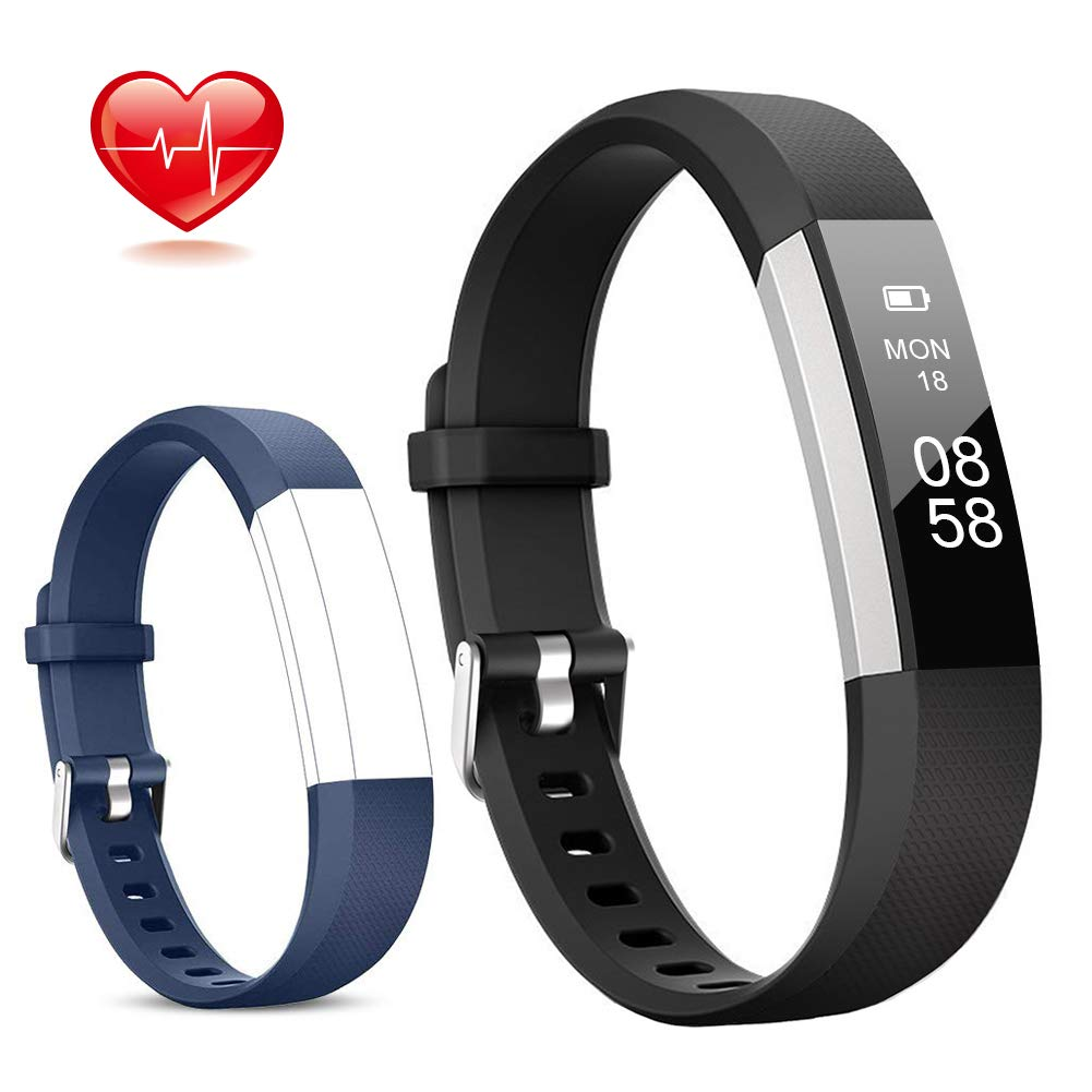 Lintelek Fitness Tracker, Slim Activity Tracker with Heart Rate Monitor, IP67 Waterproof Step Counter, Calorie Counter, Pedometer for Kids Women and Men (Black+Blue) by Lintelek