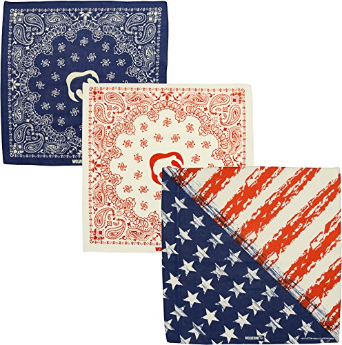 Wolverine 3 Piece Bandana Set 22 Inch Square Assortment American Flag Red White and Blue