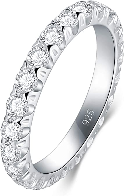 BORUO 925 Sterling Silver Ring 8mm Cubic Zirconia CZ Eternity Engagement Wedding Band Ring