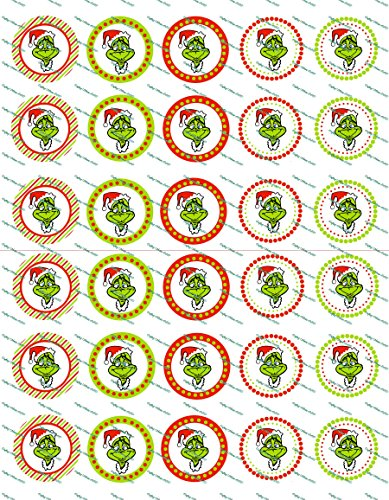 30 Precut Images Christmas Grinch Set 1 (Grinch Stickers)