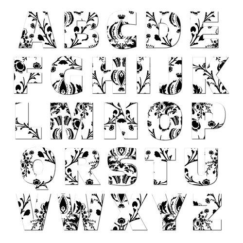 (Graphics and More Alphabet Letters Uppercase Floral Damask Black White Novelty Gift Locker Refrigerator Vinyl Magnet Set)