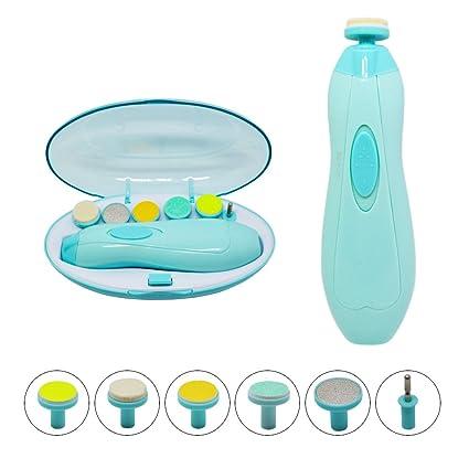 NEEGO Bebé Lima de uñas Cortaúñas eléctricos Multifunción 6 en 1 Manicura de Seguridad Cuidado pulido y recorte para Niños y adultos(Azul)