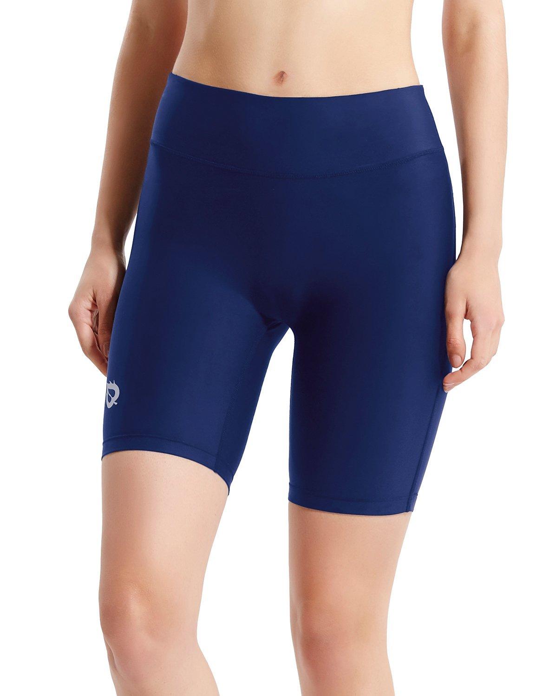 Baleaf Women's 7'' Active Fitness Yoga Running Shorts Pocket Blue Size L by Baleaf