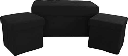 3-Piece Foldable Storage Ottoman Table and Bench Set, Suede Ebony Black