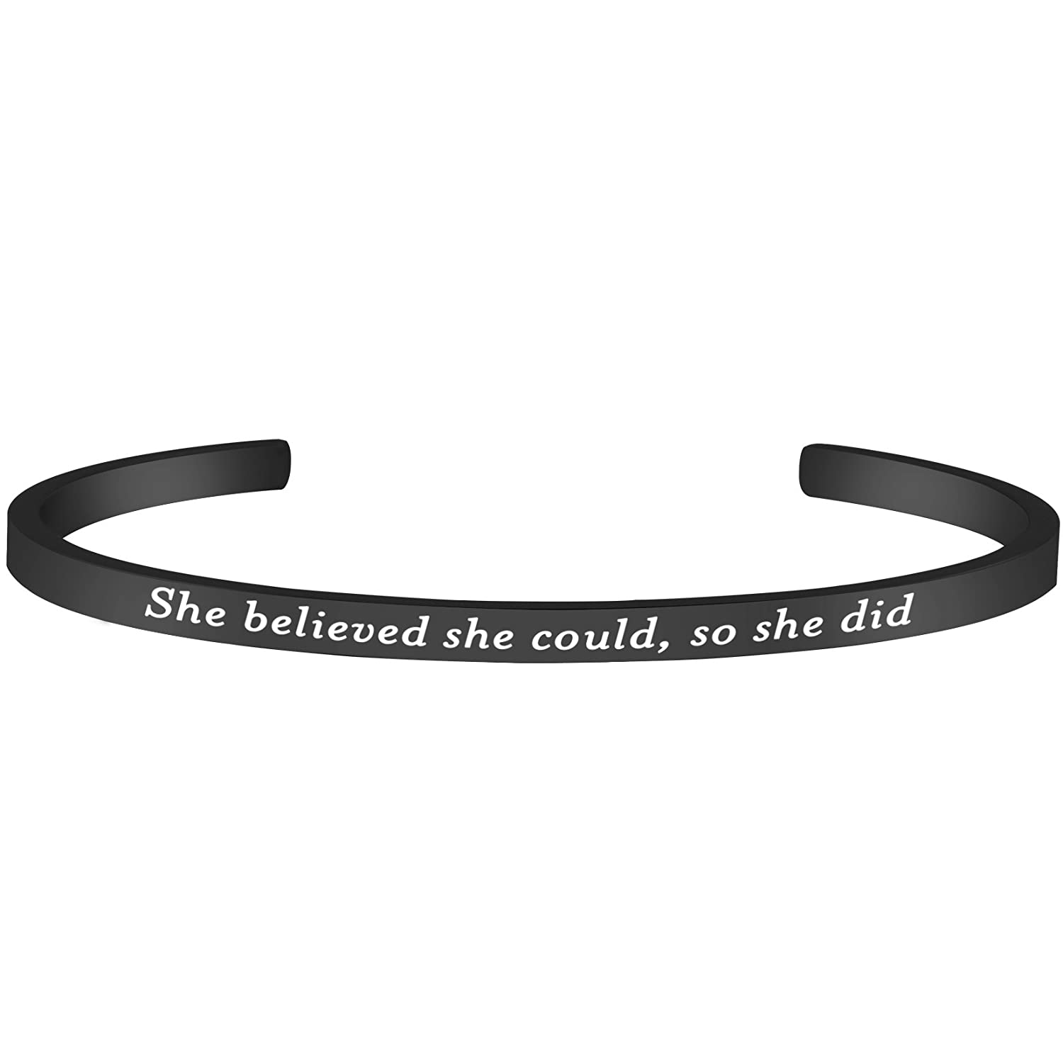 Lademayh She Believed she Could, so she did Inspirational Faith Bracelet Engraved Word Bracelets for her, Adjustable Stainless Steel Personalized Bracelet Lademayh INC 2005-16-OR