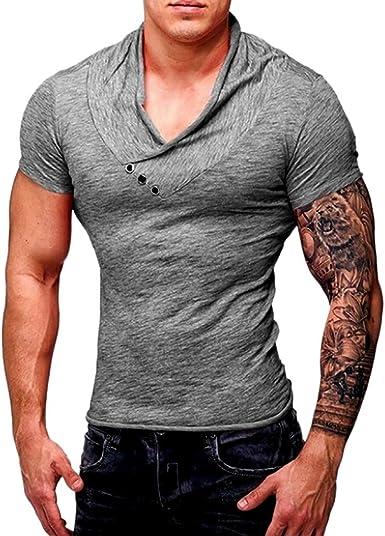 riou Camiseta de Manga Corta para Hombre con Cuello Redondo ...