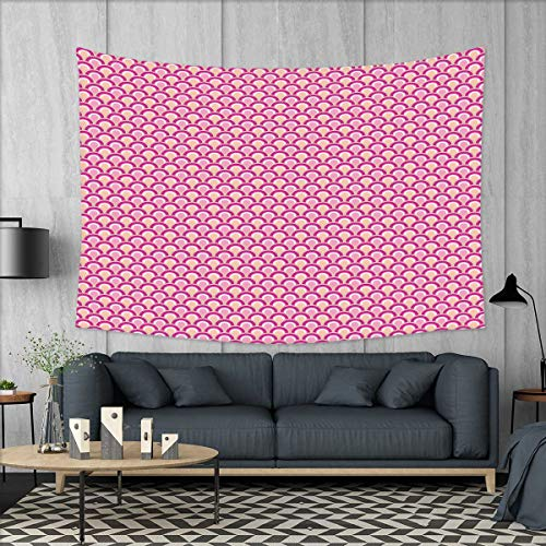 smallbeefly Pink Wall Tapestry Overlapping Circles Dotted Design Vibrant Colored Sea Inspired Wavy Print Home Decorations for Living Room Bedroom 80''x60'' Pink Magenta Peach by smallbeefly