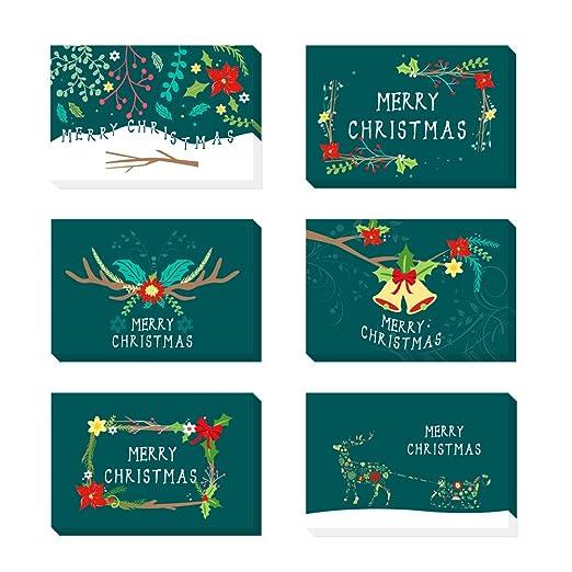 O-Kinee 24 Tarjetas de Navidad con Sobres y Pegatinas ...