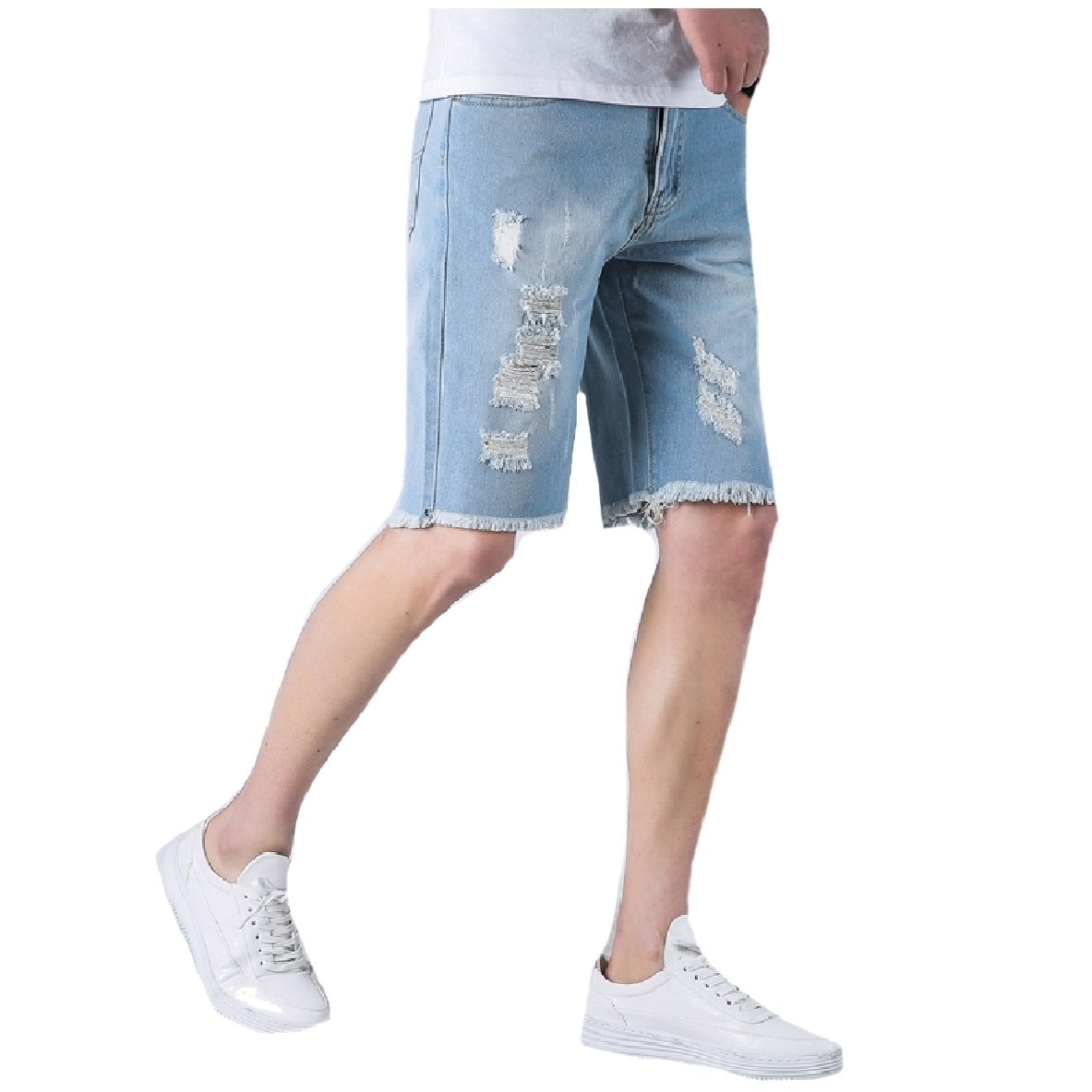 AngelSpace Men's Jeans Ripped Raw Hem Denim Pants Straight-Fit Midi Shorts Light Blue 32