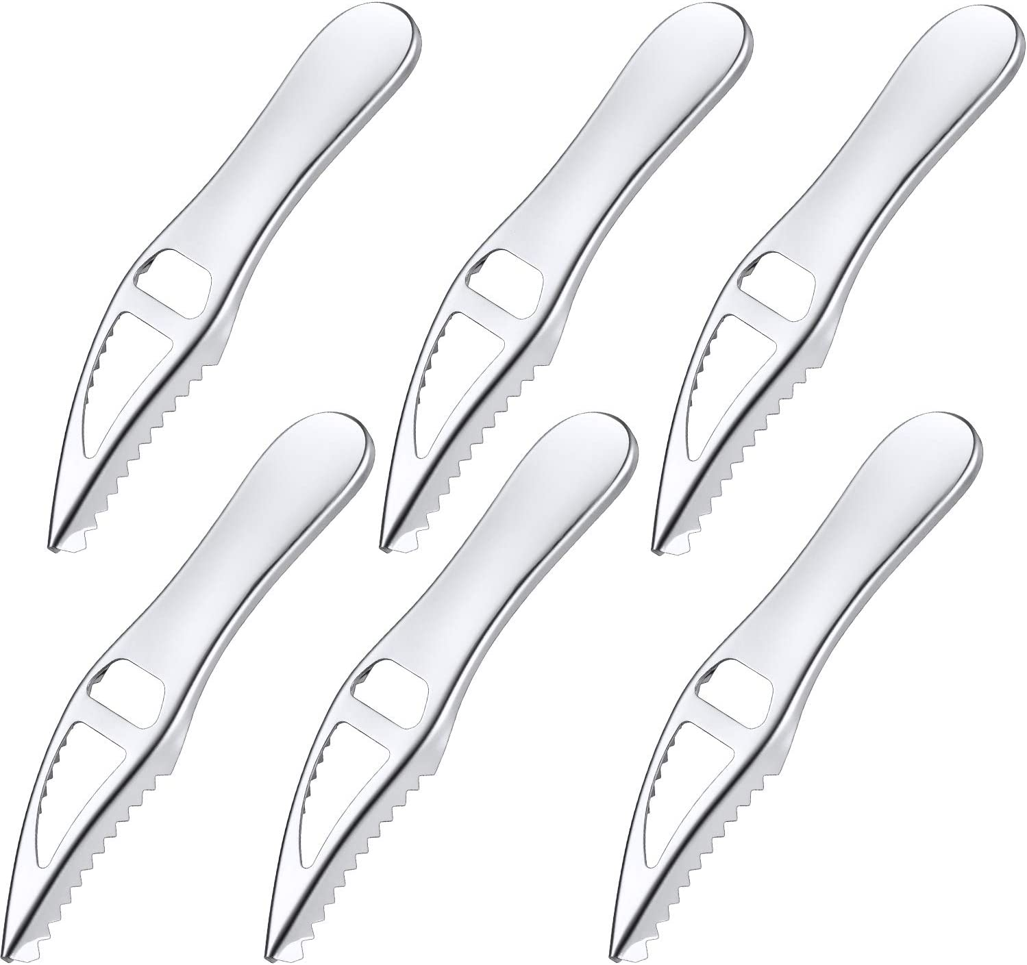 6 Pieces Fish Scaler Remover Stainless Steel Sawtooth Scarper Kitchen Fish Scaler Brush with Non-slip Handle for Home Kitchen Restaurant, Fish Scales Skin Removing Peeling