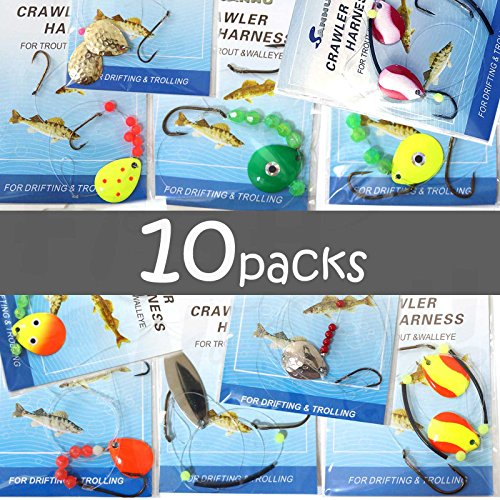 10 packs Crawler Harness Walleye Spinner Rig - 1-hook,2-hook,3-hook