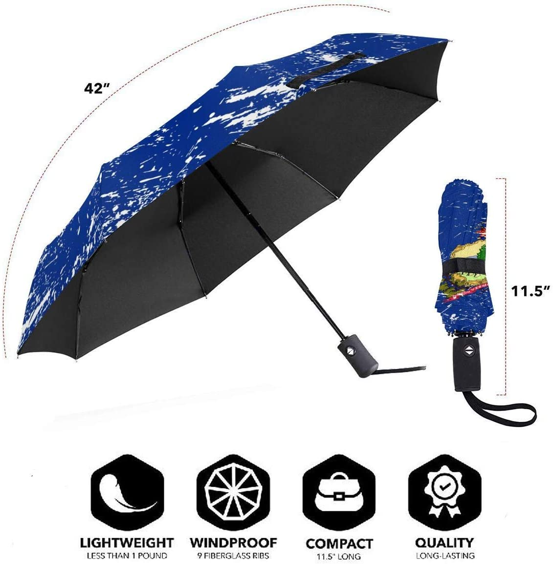 Vermont State Flag Automatic Tri-fold Umbrella Classic Windproof Anti UV Rain//Sun Travel Umbrella Light Weight.