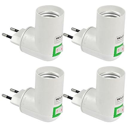 MENGS® Pack de 4 PP de calidad en E27 adaptador convertidor de enchufe de la
