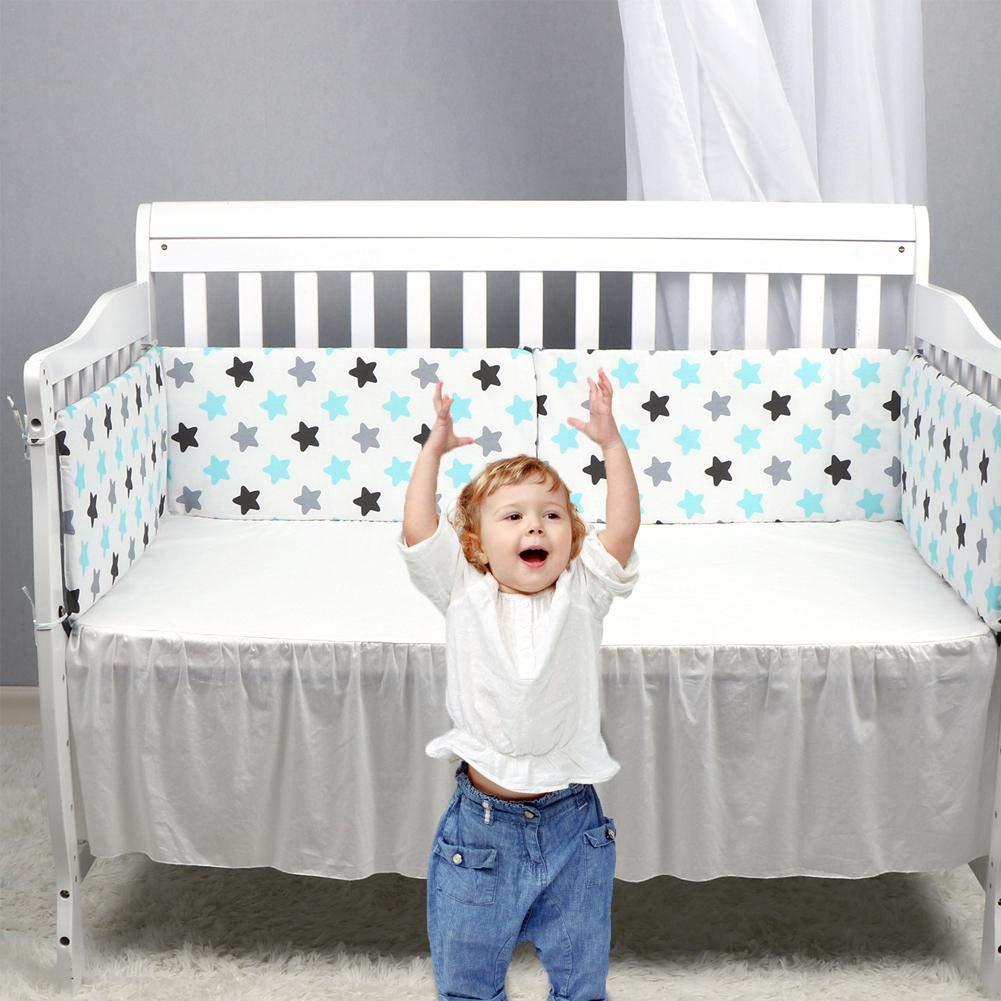 Cotton Breathable Washable Padded Crib Liner Set For Baby Boys Girls Safe Bumper Guards Crib Rail Padding. Seasaleshop Padded Cot Bed Bumper