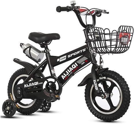 FINLR-Bicicletas infantiles Bicicletas For Niños Bicicleta De Pedales For Niños De 3 A 12 Años 14/12/16/18 Pulgadas Niño Niña Cochecito De Bebé 4 Colores (Color : Black, Size : 12 Inches): Amazon.es: Deportes y aire libre