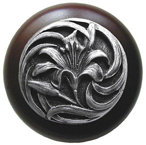 Notting Hill Decorative Hardware Tiger Lily Wood Knob, Antique Pewter, Dark Walnut wood finish
