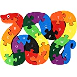 GoaPly Creative Wooden Snake Letters and Numbers Jigsaw Puzzle Game, Assembled Size 5.1x7.5x0.6 inches, Kids Preschool Intelligence Block Puzzle Play and Learning Toy Birthday Gift Idea