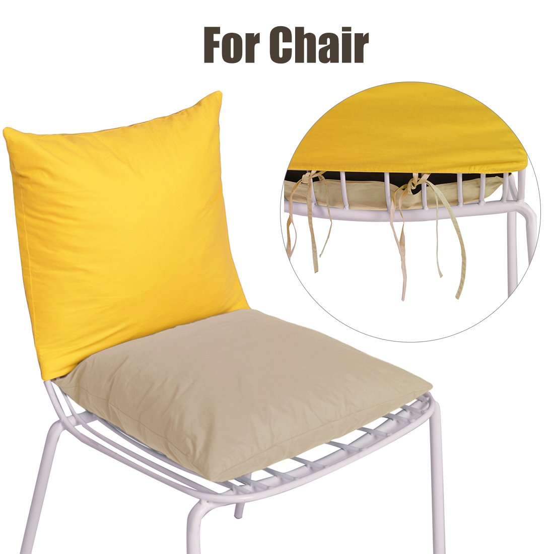 Home Decor Reversible Throw Pillow for Chair Sofa Yellow /& Beige Famome Chair Pad Cushion Filled Feather and Down 15x15 inch