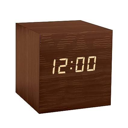 Balvi - Kubo Despertador Digital de Madera. con 3 alarmas, Calendario, termómetro y