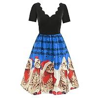 Christmas Print Hepburn Knee-Length Dress,Women Short Sleeve Christmas Cats Musical Notes Print Vintage Flare Dress