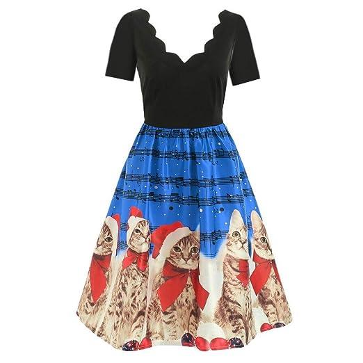 32e36ba62787 Toimothcn Women Vintage Sleeveless Flare Dress Christmas Cats & Musical  Notes Print Party Tea Swing Dress