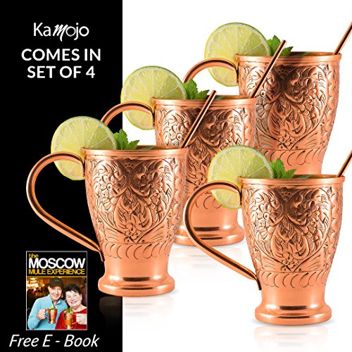 Moscow Mule Copper Mugs - Stunning Embossed Gift Set of 4 Pure Copper Cups - Straws/Stir Sticks. By Kamojo Embossed Cup