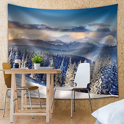 Snowed in Pine Trees Up on the Mountains Fabric Tapestry