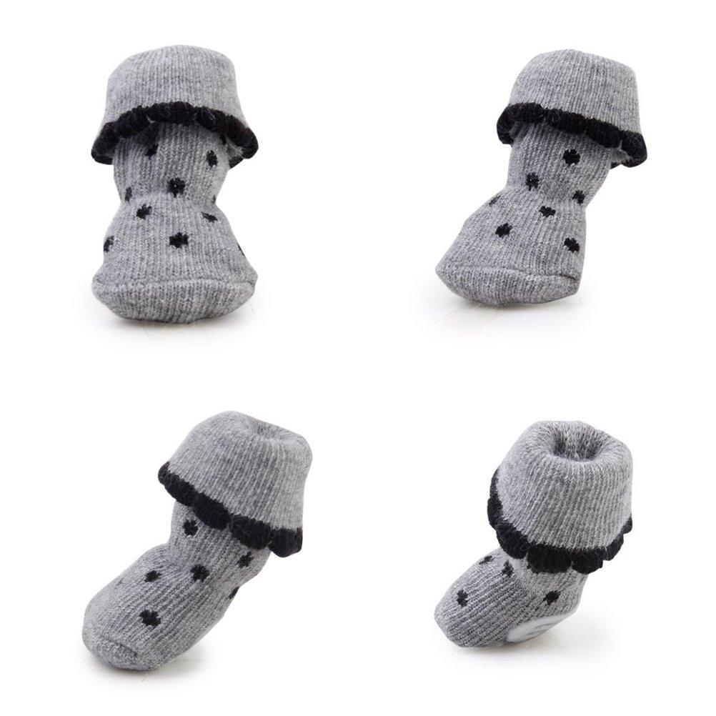 PIXNOR 4pcs para mascotas perro antideslizante calcetines con goma ...