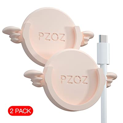 pzoz Phone Car Mount Compatible for Collapsible Grip Socket, 2 Pack Adhesive Silicone Stand for Mount Charging Cable Holder Wire Clip Cord Organizer for Car, Office, Kitchen, Wall (Pink)