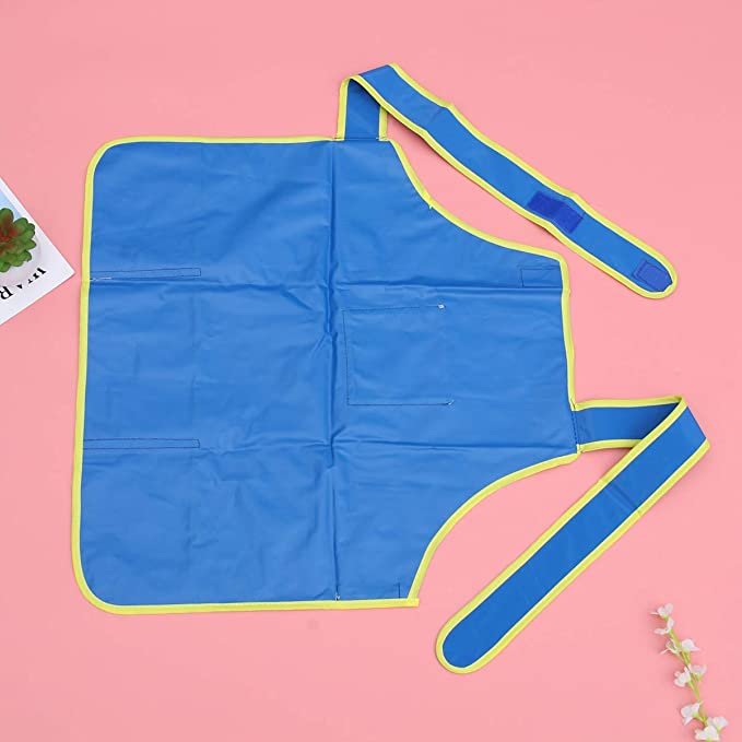 Kunstkittel f/ür Kinder K/ünstlersch/ürze mit Taschen Verstellbare Kunstsch/ürze Kinderkittel zum Malen Blau