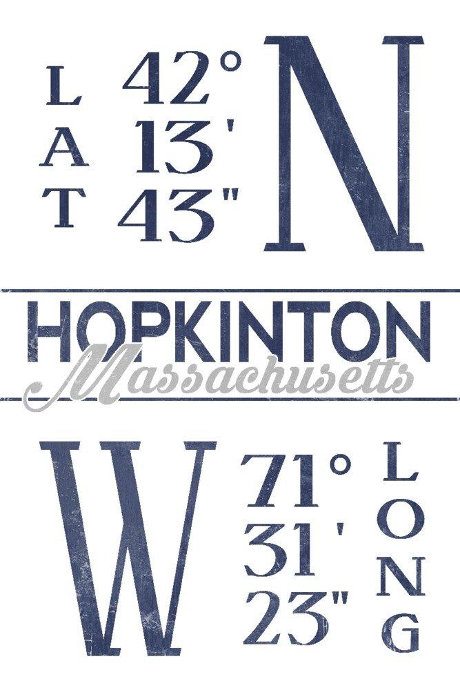 (9 x 12 Art Print) - Hopkinton, Massachusetts - Latitude and Longitude (Blue) (9x12 Art Print, Wall Decor Travel Poster) B072Q1LRMF  9 x 12 Art Print
