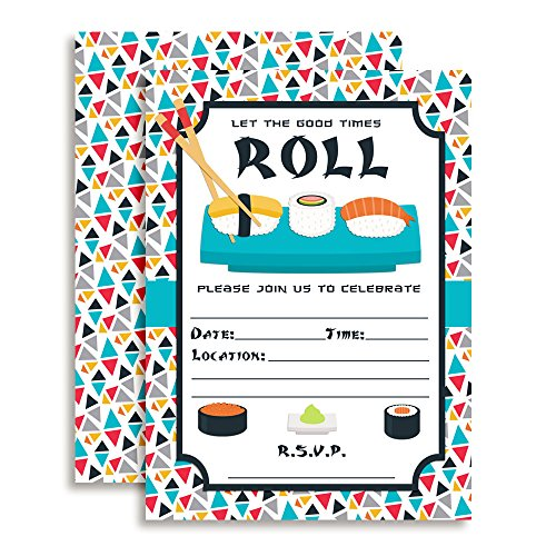 Good Time Sushi (Amanda Creation Sushi, Let The Good Times Roll Themed Party Fill in Invitations, Set of 20 Including)
