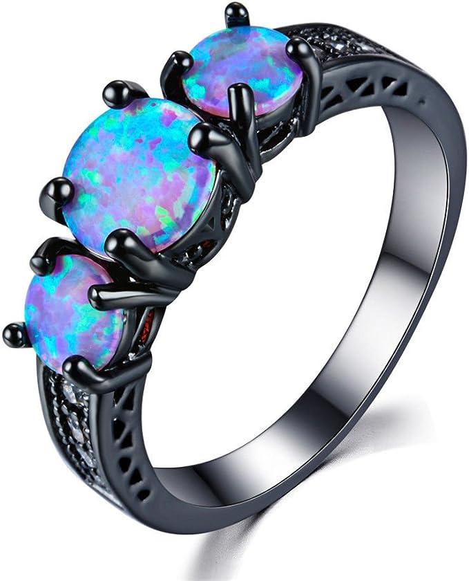 Yangems,natural 3 piece Black opal Gemstone Ring flower tree design jewelry 925 sterling silver fine jewelry for women wife  best gift