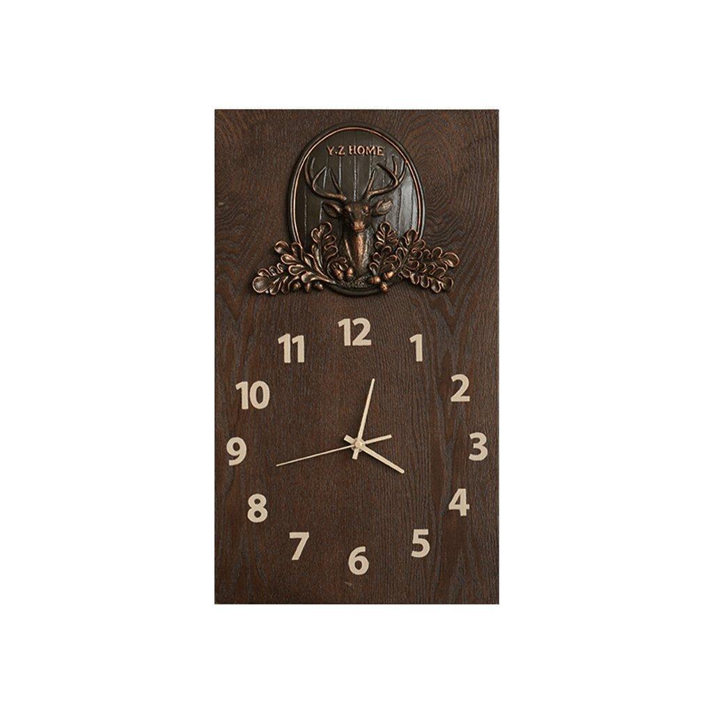 掛け時計 ノルディックソリッドウッドウォールクロックリビングルームパーソナリティクリエイティブベッドルームサイレントクロックポケットウォッチ家庭用クォーツ時計ミュートブラウン Rollsnownow (サイズ さいず : 小さな ちいさな) B07DYS8X7S小さな ちいさな