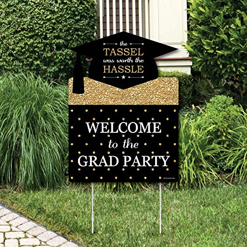 Big Dot of Happiness Gold Tassel Worth The Hassle - Graduation Decorations - Graduation Party Welcome Yard -
