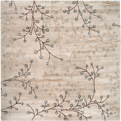 Surya Athena ATH-5008 Transitional Hand Tufted 100% Wool Feather Gray 8' Square Floral Area Rug (Chocolate Transitional Rug)