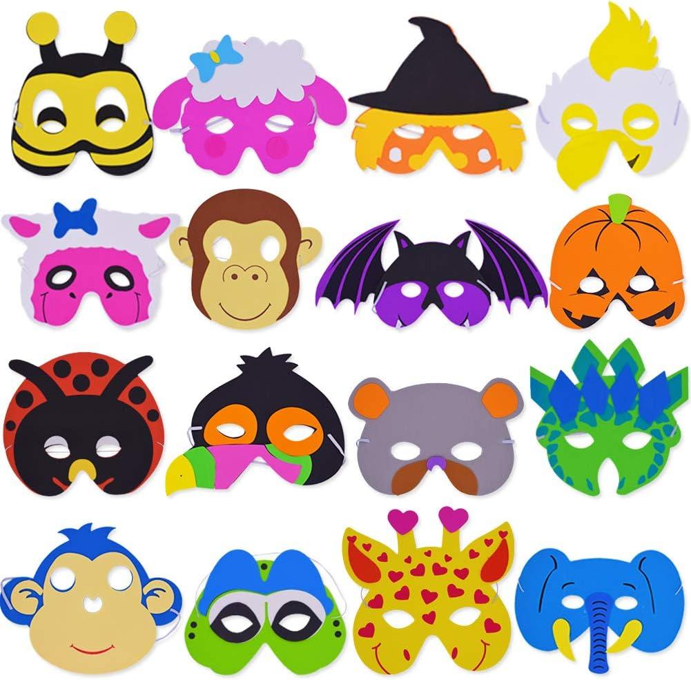 SWZY EVA Mascarilla Animal,16 Mascarillas de Espuma EVA para niños para Bolsas de Fiesta, máscara, Fiesta de cumpleaños, Navidad, Halloween