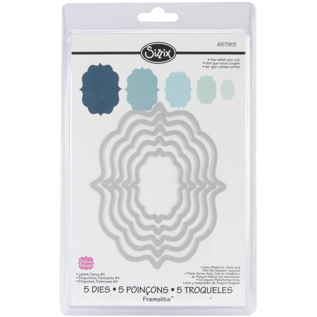 Sizzix Framelits Die Set 5-Pack, Labels, Fancy No.4 by Stephanie Barnard 657913