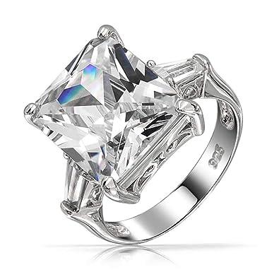 Bling Jewelry 925 Sterling Silver 7CT AAA CZ Esmeralda Anillo de Compromiso Corte Baguette: Amazon.es: Joyería