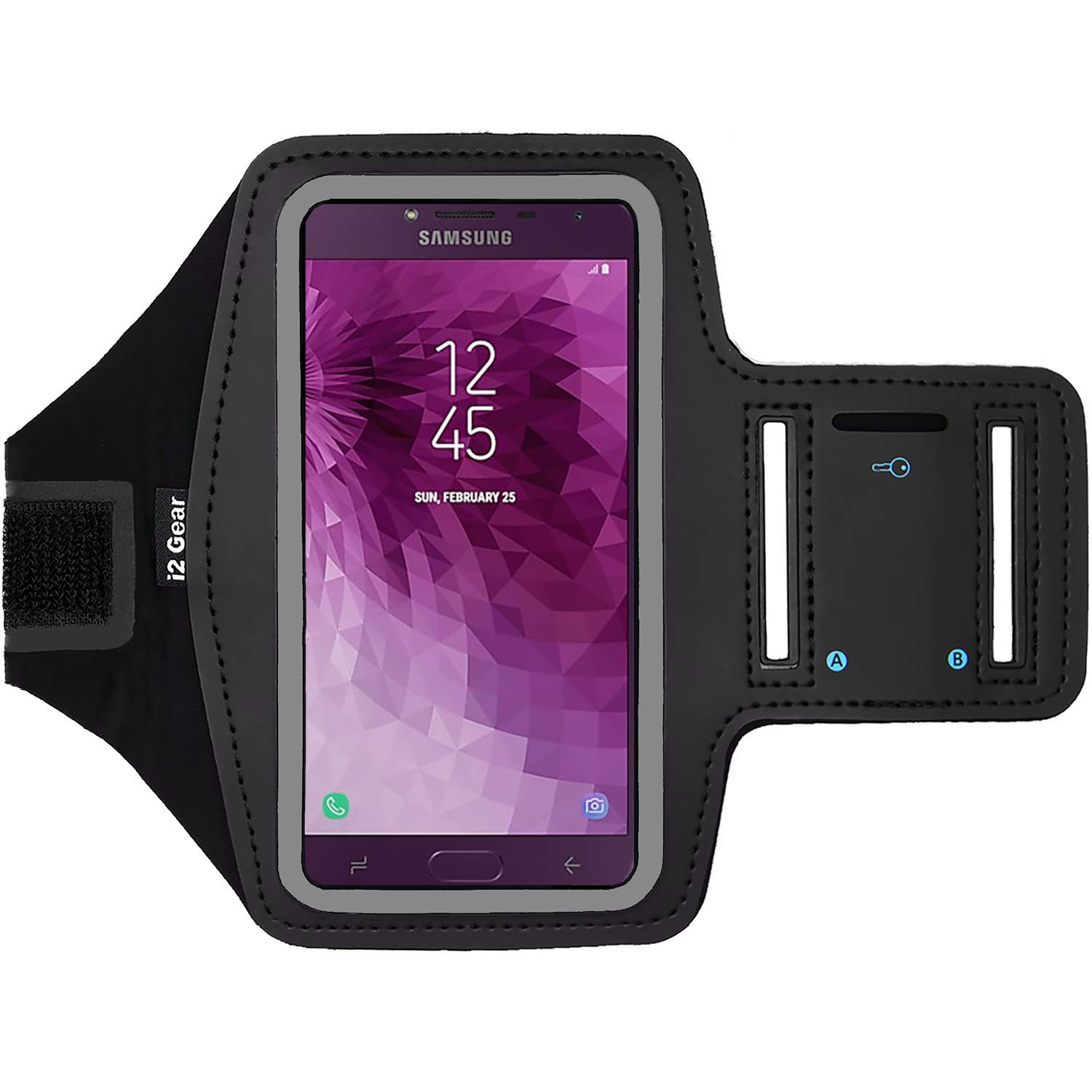 Arm Band Case for Samsung Galaxy J4 Workout Phone Holder with Adjustable Strap Black i2 Gear Fitness Cell Phone Armband for Running Reflective Edge