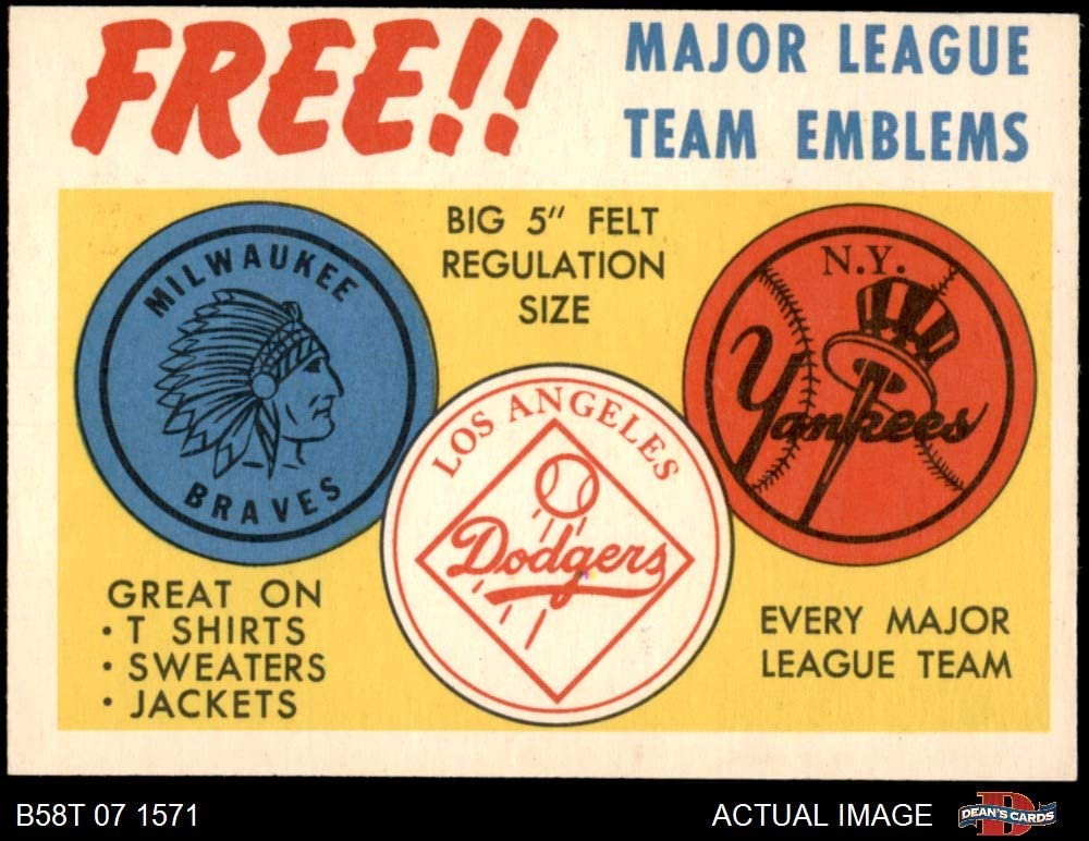 1958 Topps Felt Team Emblems (Baseball Card) Dean's Cards 5 - EX