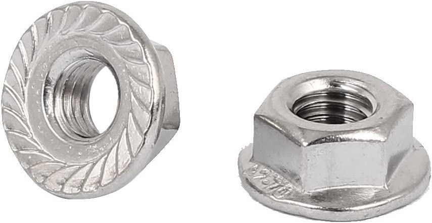 uxcell M14 304 Stainless Steel Serrated Hex Flange Nuts Silver Tone 2pcs